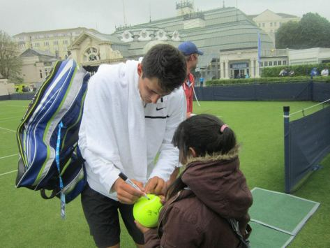 Bernard Tomic, the brat of tennis, was quite nice to my own little brat.