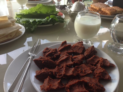 Yummy çiğ köfte accompanied with some ayran. It's as Turkish as it can get.