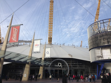 People on their way to see tennis stars at the O2 in North Greenwich, London.