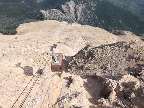 Cable car approaching the mountain