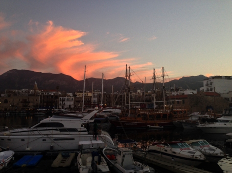 The sun setting over Kyrenia Harbour