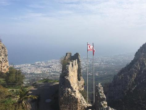 The Turkish and Cypriot flags fly high over the Mediterranean. Photo: Jess.