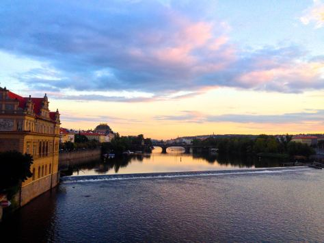 Trying to catch sunset on Charles Bridge, Prague.