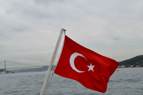 The Turkish flag flies high